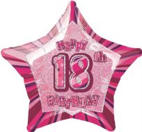 "Glitz 20"" Star Balloon Pink - Age 18"
